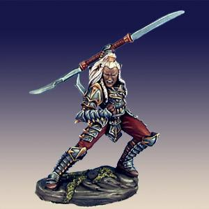 Male Dark Elf Warrior with Double Bladed Sword