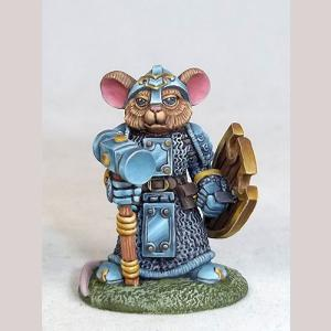 Mouse Cleric with Warhammer and Shield
